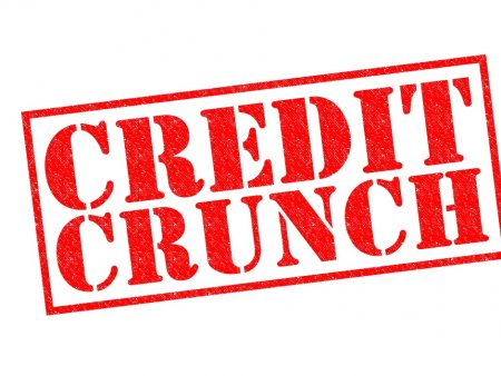 CREDIT CRUNCH red Rubber Stamp over a white background.